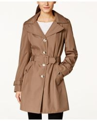 Calvin Klein   Brown Petite Hooded Single-breasted Trench Coat, Only At Macy's   Lyst