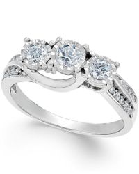 Macy's | Metallic Diamond Three-stone Ring In 14k White Gold (1/2 Ct. T.w.) | Lyst