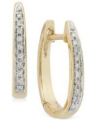 Macy's - Metallic Channel-set Diamond Hoop Earrings In 14k Gold (1/10 Ct. T.w.) - Lyst