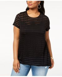 INC International Concepts - Black I.n.c. Plus Size Illusion-striped Top, Created For Macy's - Lyst