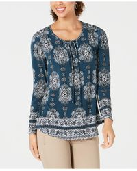 Style & Co. Blue Printed Lace-up Long-sleeve Top, Created For Macy