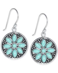 Macy's | Metallic Manufactured Turquoise Flower Earrings (5 X 2-1/2mm) In Sterling Silver | Lyst