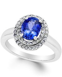 Macy's | Blue Topaz (2-3/8 Ct. T.w.) And Diamond (1/2 Ct. T.w.) Ring In 14k White Gold | Lyst