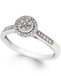 Macy's - Diamond Circular Promise Ring (1/5 Ct. T.w.) In 10k White Gold - Lyst