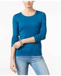 Charter Club Blue Pima Cotton Long-sleeve Top