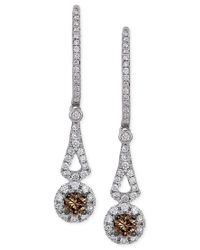 Le Vian | Chocolatier Chocolate Diamond And White Diamond Drop Earrings In 14k White Gold (1/2 Ct. T.w.) | Lyst