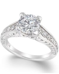 Macy's - Metallic Certified Diamond Channel Solitaire Ring (2 Ct. T.w.) In 14k White Gold - Lyst