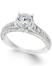 Macy's - Metallic Certified Diamond Engagement Ring In 18k White Gold (1-3/8 Ct. T.w.) - Lyst