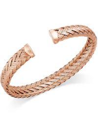 Macy's - Green Woven Cuff Bracelet In 14k Rose Gold Over Sterling Silver - Lyst