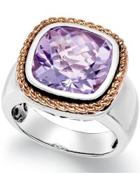 Macy's - Multicolor Amethyst Pendant Ring (6 Ct. T.w.) In 18k Rose Gold And Sterling Silver - Lyst