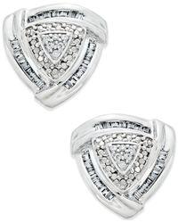Macy's | Metallic Trillium Diamond Earrings (1/4 Ct. T.w.) In Sterling Silver | Lyst