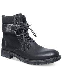 Steve Madden Black Madden Neptun Plaid Collar Boots for men