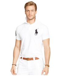 Polo Ralph Lauren   Metallic Men's Custom-fit Big Pony Mesh Polo Shirt for Men   Lyst