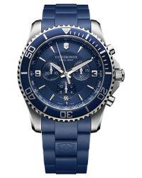 Victorinox | Men's Swiss Maverick Blue Rubber Strap Watch 43mm 241690 for Men | Lyst