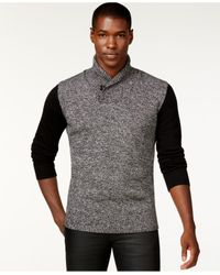 Sean John - Black Colorblocked Twist Shawl-collar Sweater, Only At Macy's for Men - Lyst