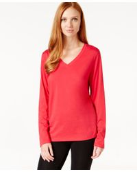 Hue | Red Solid V-neck T-shirt | Lyst