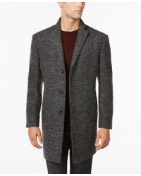 Calvin Klein Gray X-fit Charcoal Melange Extra-slim-fit Overcoat for men