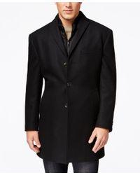 DKNY Derring Black Slim-fit Overcoat With Removable Vest for men