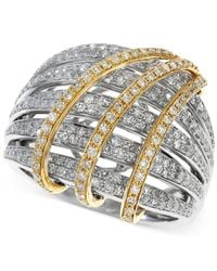 Effy Collection - Metallic Two-tone Diamond Crossover Ring (1-1/10 Ct. T.w.) In 14k Gold - Lyst