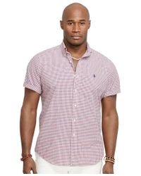 Polo Ralph Lauren | Red Men's Big & Tall Checked Poplin Shirt for Men | Lyst