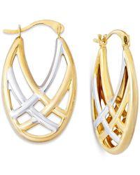 Macy's - Metallic Woven Hoop Earrings In 10k Gold And Rhodium - Lyst