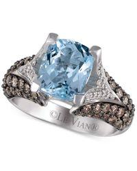 Le Vian | Metallic Aquamarine (2-1/2 Ct. T.w.), Chocolate Diamond (1 Ct. T.w.) And White Diamond (1/5 Ct. T.w.) Ring In 14k White Gold | Lyst