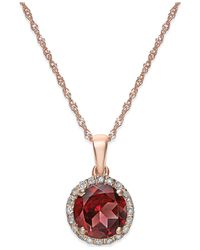 Macy's | Multicolor Garnet (1-1/2 Ct. T.w.) And Diamond Accent Pendant Necklace In 14k Gold | Lyst