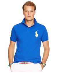 Polo Ralph Lauren   Blue Men's Classic-fit Big Pony Mesh Polo Shirt for Men   Lyst