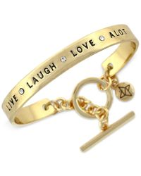 "BCBGeneration | Metallic Gold-tone ""live Laugh Love A Lot"" Bracelet 