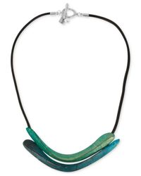 Robert Lee Morris | Green Silver-tone Sculptural Double Row Patina Frontal Necklace | Lyst