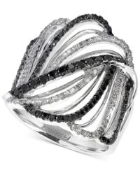 Effy Collection - Effy Black And White Diamond Crisscross Swirl Ring (7/8 Ct. T.w.) In 14k White Gold - Lyst