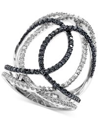 Effy Collection | Black And White Diamond Swirl Ring (3/4 Ct. T.w.) In 14k White Gold | Lyst