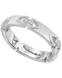 Proposition Love | Metallic Diamond Triangle Motif Women's Wedding Band In 14k White Gold (1/10 Ct. T.w.) | Lyst