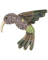Anne Klein | Metallic Gold-tone Multi-crystal Humming Bird Pin, A Macy's Exclusive Style | Lyst