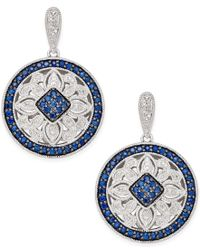 Macy's - Blue Sapphire (2 Ct. T.w.) And Diamond (1/4 Ct. T.w.) Decorative Disc Drop Earrings In Sterling Silver - Lyst