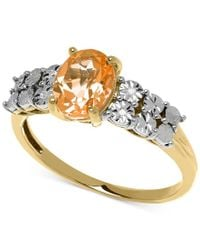 Macy's | Metallic Citrine (1 Ct. T.w.) And Diamond Accent Ring In 14k Gold | Lyst