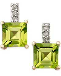 Macy's | Green Peridot (2-1/3 Ct. T.w.) And Diamond Accent Drop Earrings In 14k Gold | Lyst