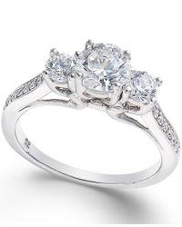 Macy's - Metallic Diamond 3-stone Engagement Ring (1-1/10 Ct. T.w.) In 18k White Gold - Lyst