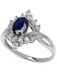 Macy's - Metallic Sapphire (1 Ct. T.w.) And Diamond Accent Ring In 10k White Gold - Lyst