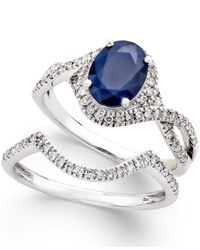 Macy's | Blue Sapphire (1-1/2 Ct. T.w.) And Diamond (3/8 Ct. T.w.) Bridal Set Of 2 Rings In 14k White Gold | Lyst