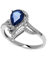Macy's | Metallic Sapphire (1-1/3 Ct. T.w.) And Diamond (1/5 Ct. T.w.) Ring In 14k White Gold | Lyst