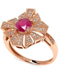 Macy's - Metallic Ruby (1 Ct. T.w.) And Diamond Accent Ring In 14k Rose Gold - Lyst
