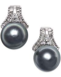Macy's | Metallic Cultured Tahitian Black Pearl (10mm) And Diamond (5/8 Ct. T.w.) Stud Earrings In 14k White Gold | Lyst