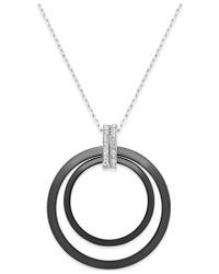 Macy's | Metallic Diamond And Ceramic Circle Pendant Necklace (1/5 Ct. T.w.) In Sterling Silver | Lyst