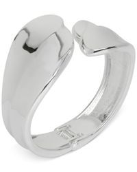 Touch Of Silver | Metallic Hinged Bypass Bangle Bracelet In Silver-plated Metal | Lyst