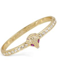 Betsey Johnson | Metallic Gold-tone Crystal Fox Bangle Bracelet | Lyst