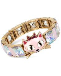 Betsey Johnson | Metallic Gold-tone Cat Crystal Stone Stretch Bracelet | Lyst