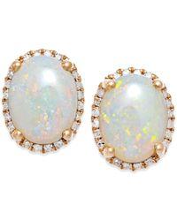 Macy's | Metallic Opal (2 Ct. T.w.) And Diamond (1/6 Ct. T.w.) Stud Earrings In 14k Rose Gold | Lyst