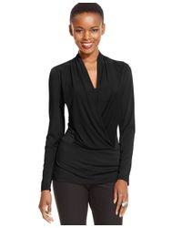 Eci | Black Long-sleeve Draped Top | Lyst