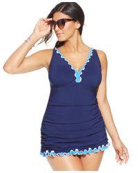 Gottex Blue Plus Size Ruffled One-piece Swimdress